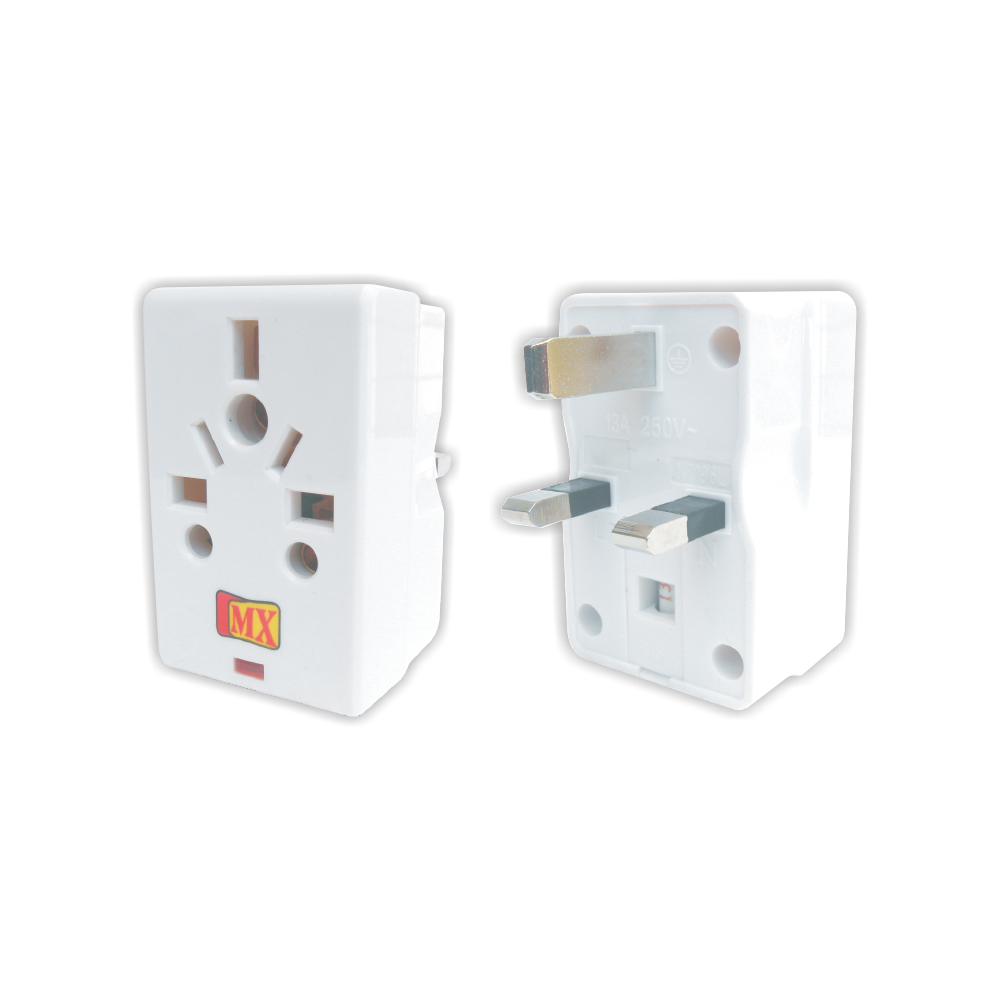 MX 3 PIN MULTI PLUG ADAPTOR - 13Amp (UK, Hongkong, Singapore, and Malaysia)