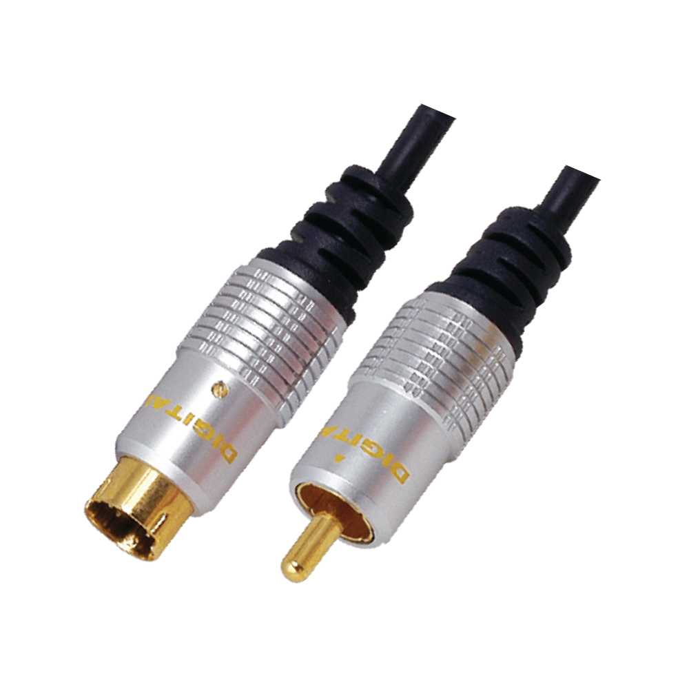 MX S-VIDEO 4 PIN MINI DIN PLUG TO MX RCA PLUG CORD (OFC DIGITAL& HOME THEATRE CABLE) GOLD PLATED - 1.5MTR