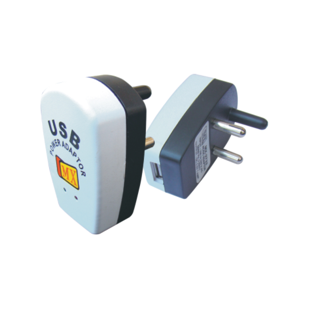 MX USB POWER ADAPTOR  (CHARGES ALL KINDS OF iPODS, DIGITAL CAMERAS & MEDIA PLAYERS)