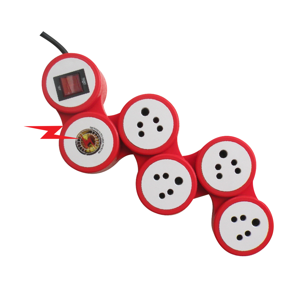 MX 4 SOCKETS SNAKE SURGE & SPIKE PROTECTOR INDIAN STANDARD WITH CIRCUIT BREAKER DUAL POLE ILLUMINATED with SWITCH - UNIVERSAL SOCKETS