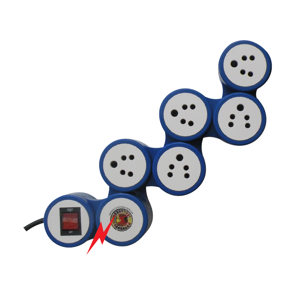 MX 5 SOCKETS SNAKE SURGE & SPIKE PROTECTOR INDIAN STANDARD WITH CIRCUIT BREAKER DUAL POLE ILLUMINATED SWITCH - UNIVERSAL SOCKET