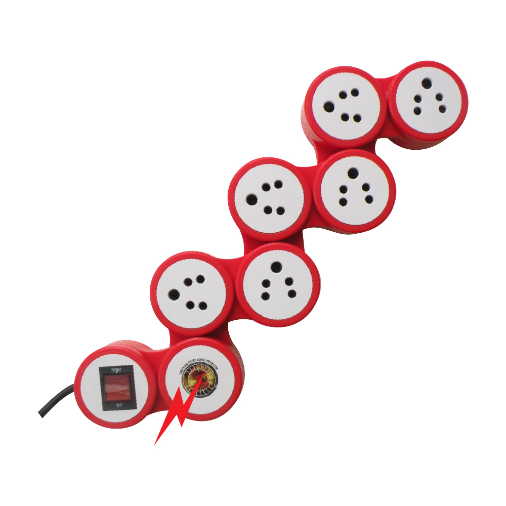 MX 6 SOCKETS SNAKE SURGE & SPIKE PROTECTOR INDIAN STANDARD WITH CIRCUIT BREAKER DUAL POLE ILLUMINATED SWITCH 15 AMP
